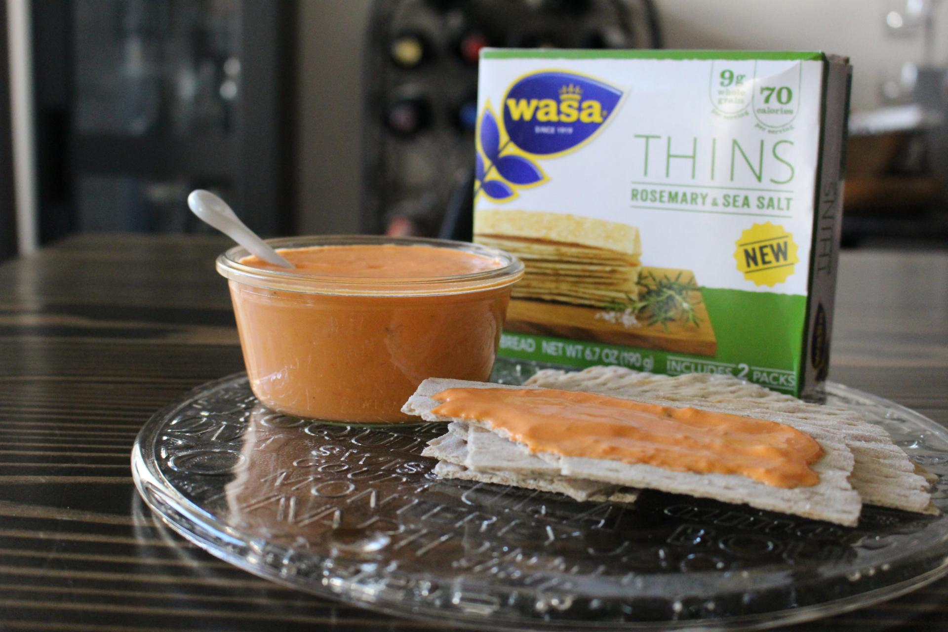 SAUCES AND SPREADS: Roasted Red Pepper Goat Cheese Spread with Wasa