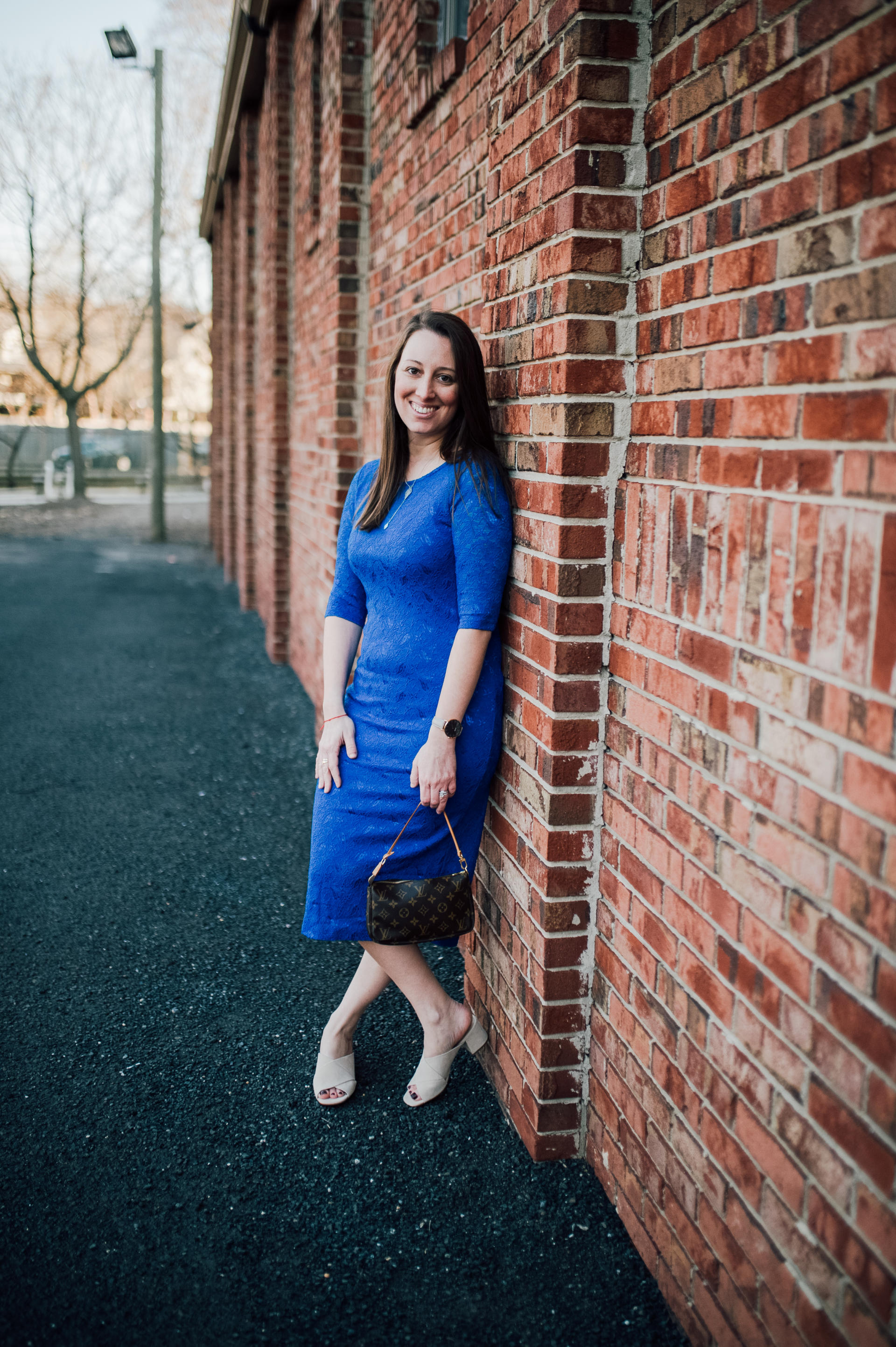 STYLE: Blue Lace Dress with Pink Blush by New Jersey fashion blogger What's For Dinner Esq.