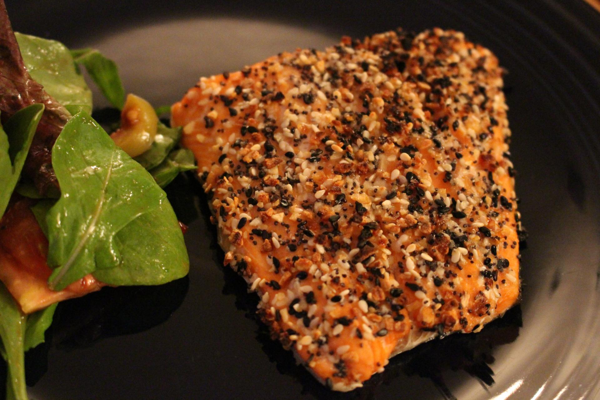 FISH: Everything But The Bagel Salmon by New Jersey foodie blogger What's For Dinner Esq.