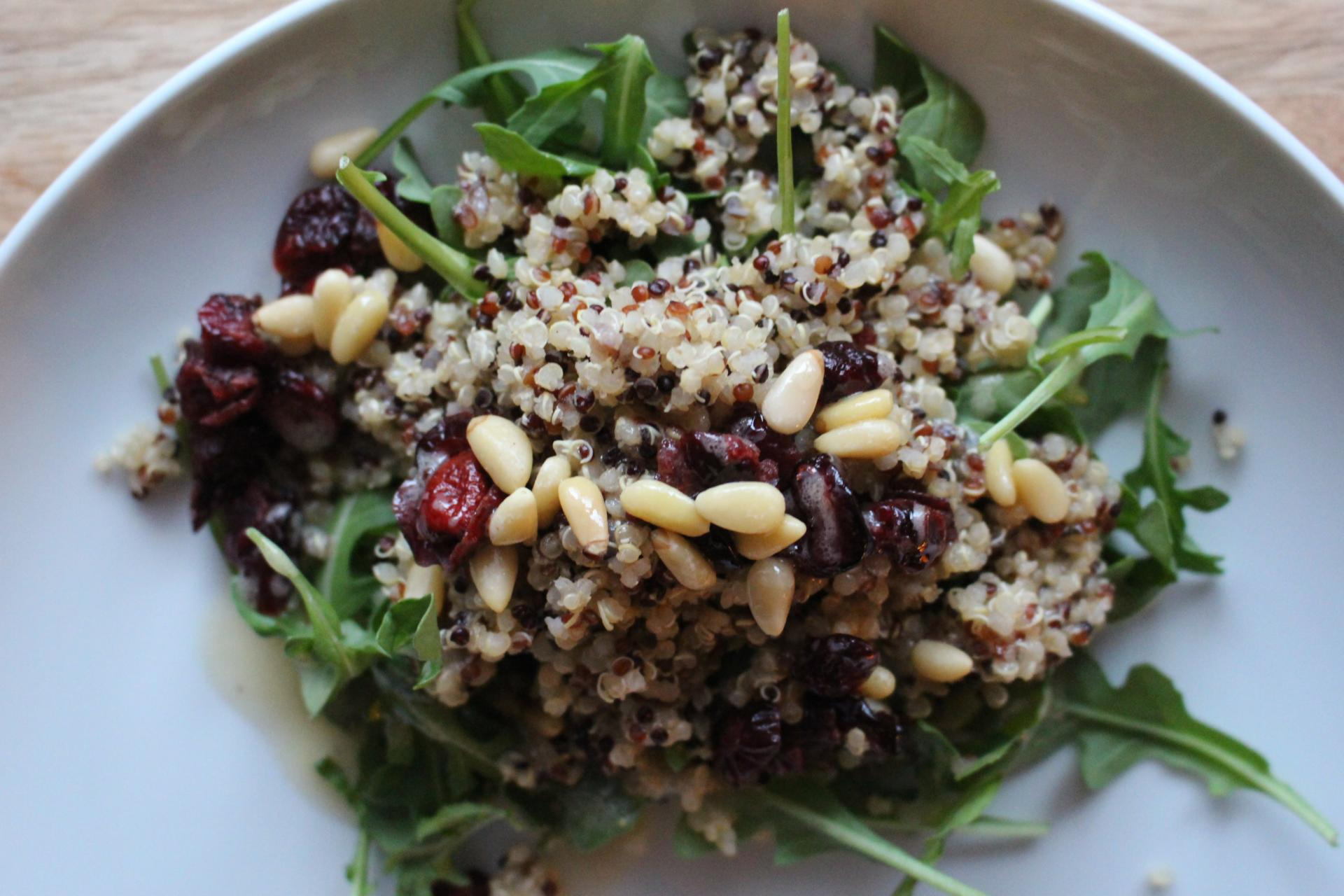 VEGGIES: Cranberry Arugula Quinoa Salad  Recipe with Honey Mustard Dressing by New Jersey foodie blogger What's For Dinner Esq.