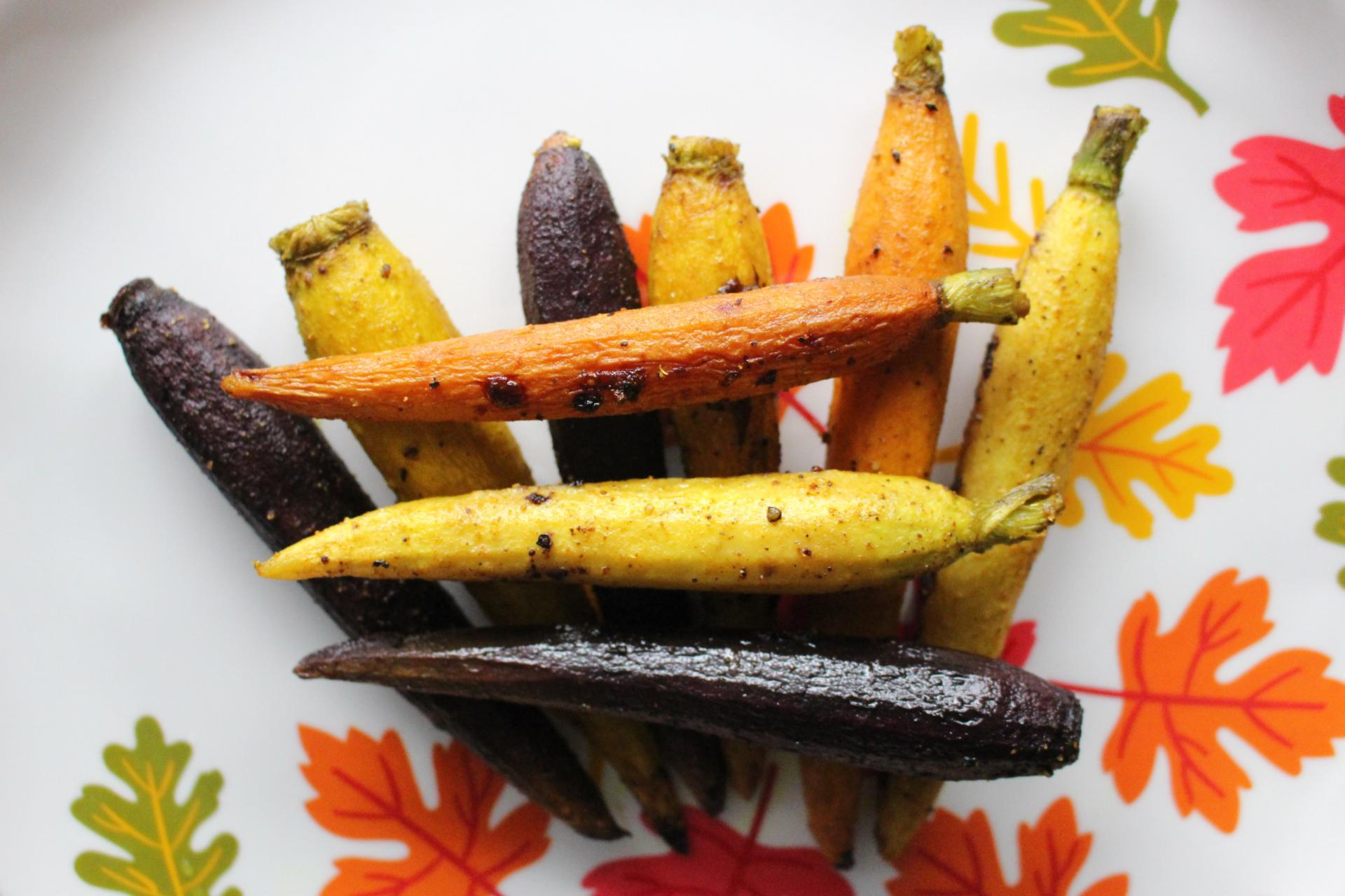 VEGGIES: Curry Roasted Rainbow Carrots by New Jersey foodie blogger What's For Dinner Esq.